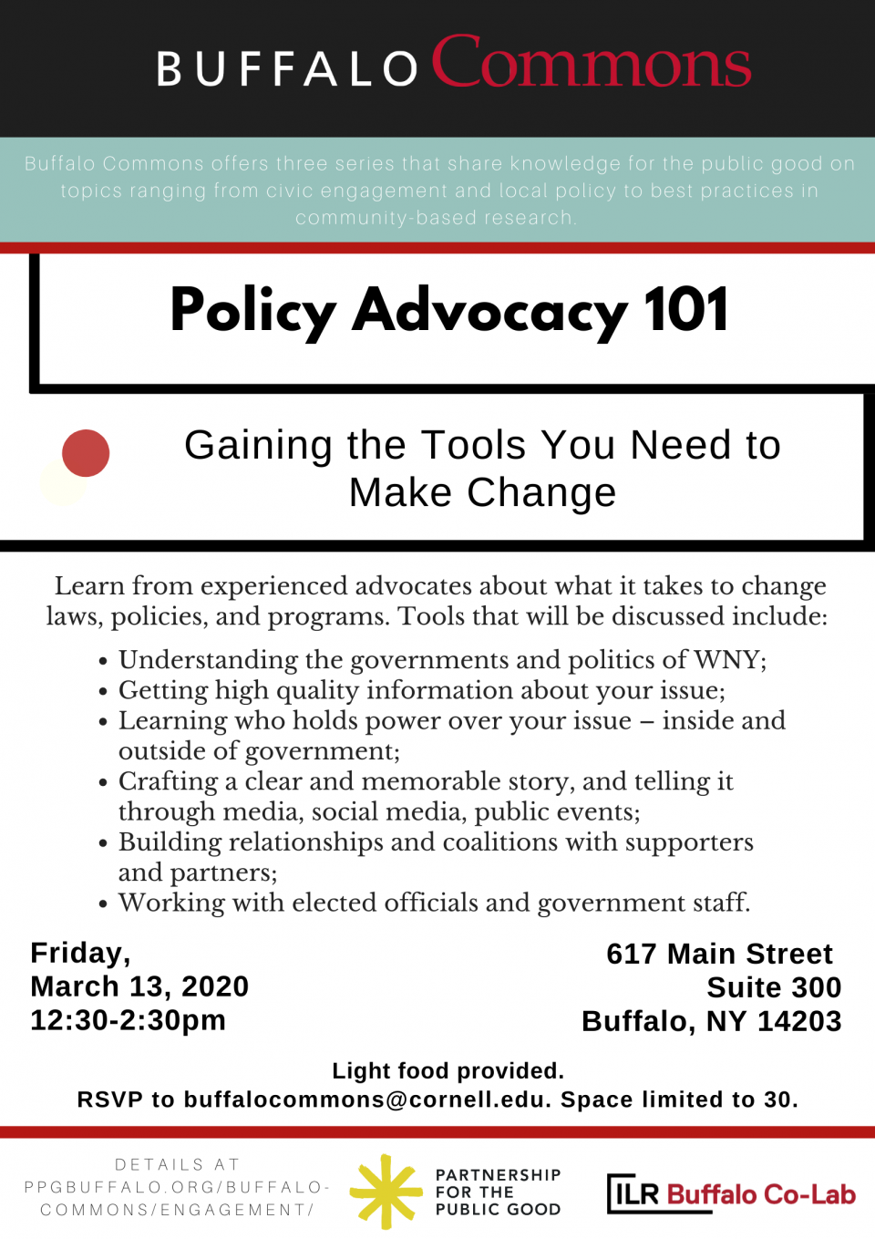 Buffalo Commons Workshop: Policy Advocacy 101