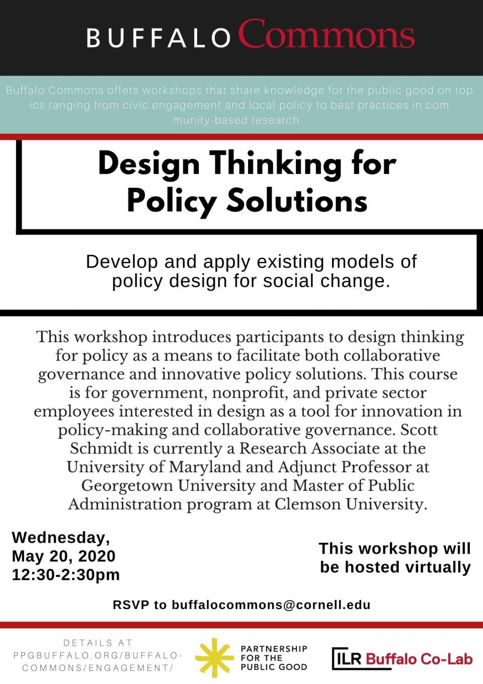 Buffalo Commons Virtual Workshop: Design Thinking for Policy Solutions