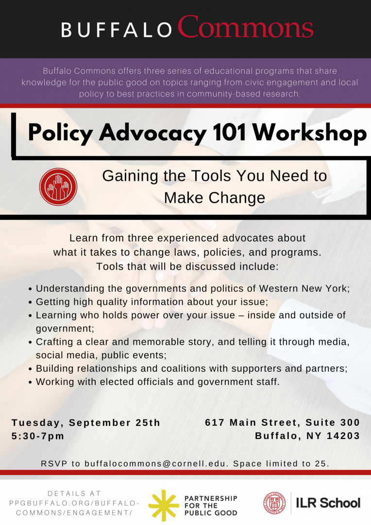 Join us for the Buffalo Commons Policy Advocacy 101 Workshop