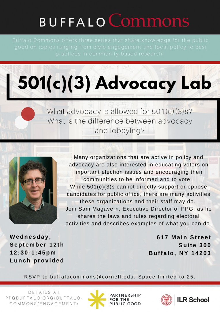 Join us for the Buffalo Commons 501(c)(3) Advocacy Lab