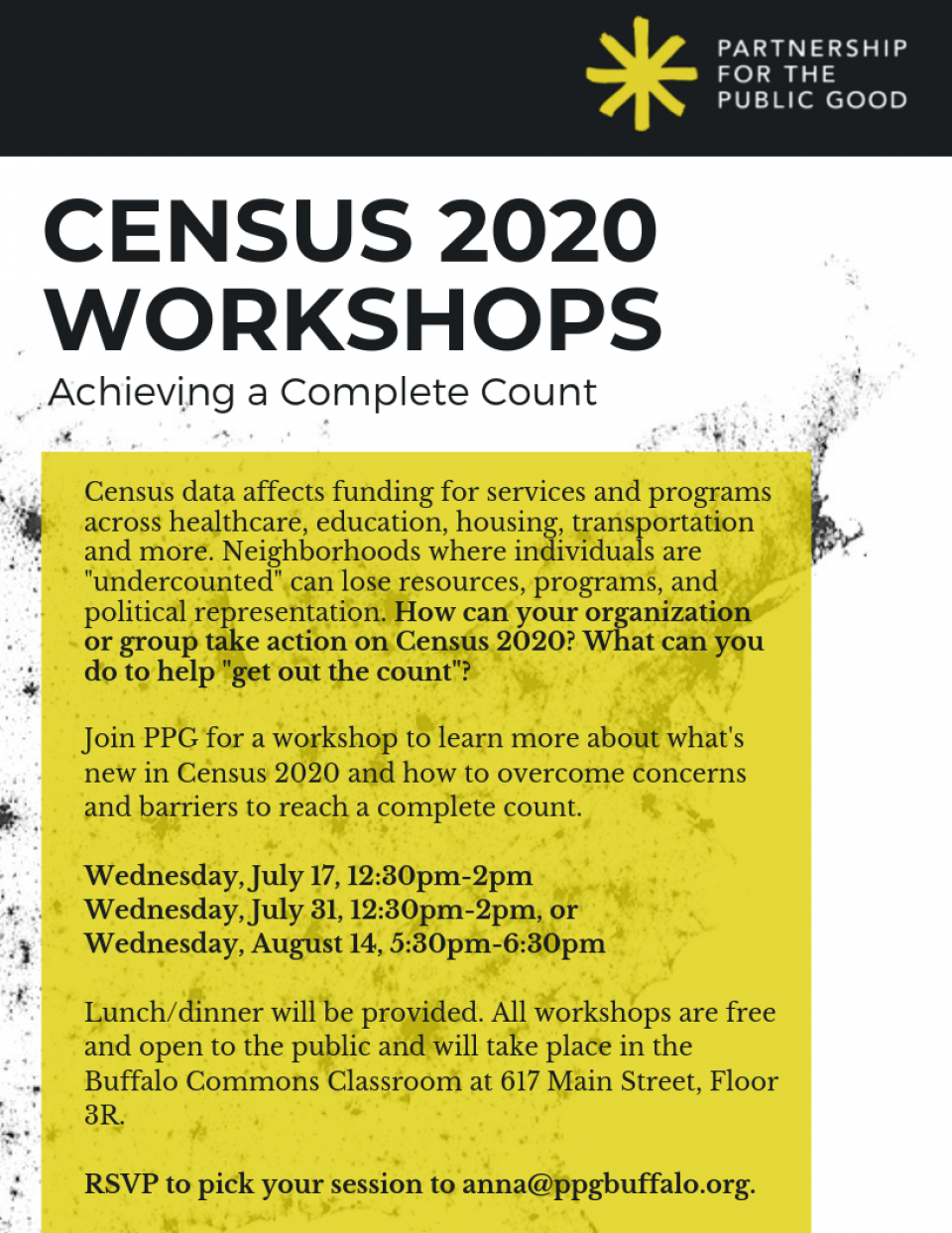 Census 2020 Workshops: Achieving a Complete Count