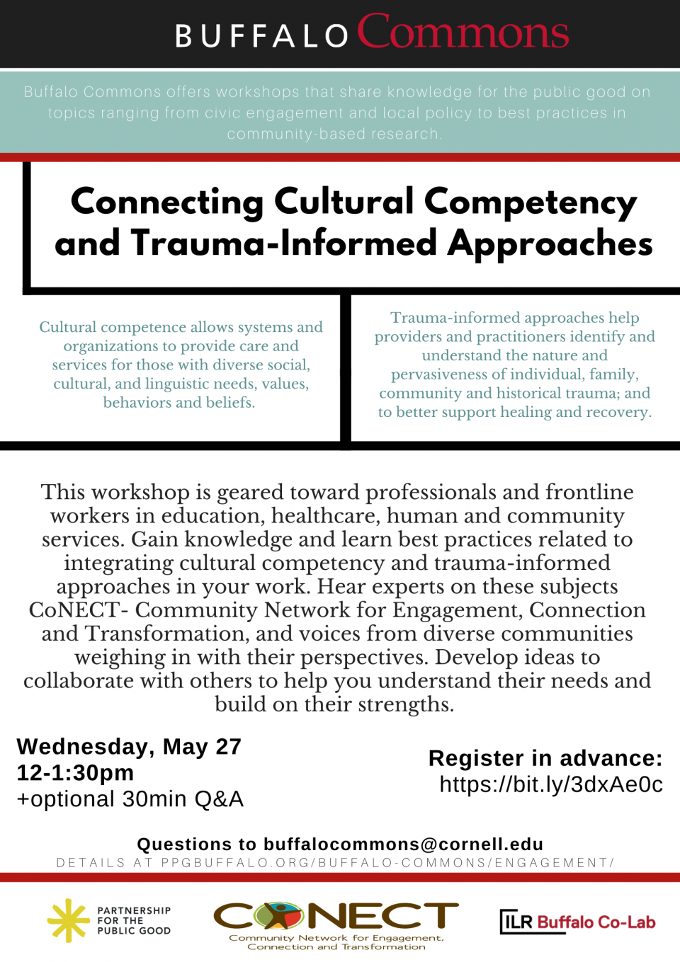 Buffalo Commons Virtual Workshop: Connecting Cultural Competency and Trauma-Informed Approaches