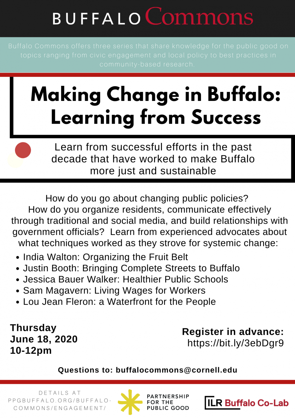 Buffalo Commons Workshop: Making Change in Buffalo: Learning from Success